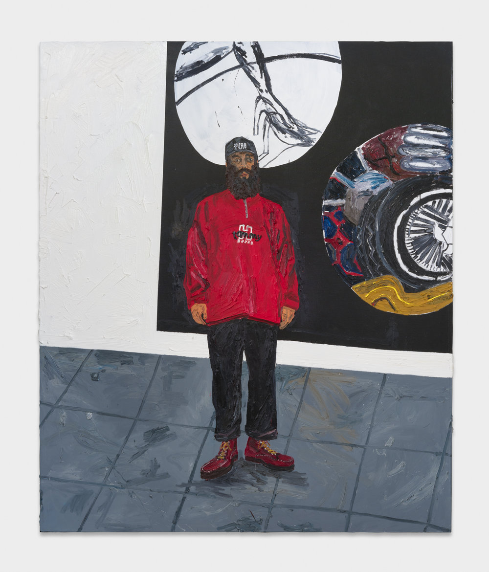 Alex Becerra  Portrait in Red Sweater (Inglewood)  2017 Oil on linen 98 ½h x 82 ½w in AB592