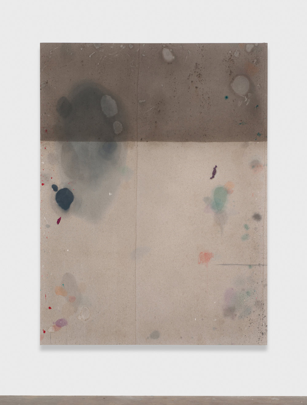 Amanda Ross-Ho  Untitled Dropcloth Painting (PURPLE CANDY)  2014 Canvas dropcloth, acrylic paint, latex paint, graphite, fabric dye, Purple Catnip Candy, feather fragment 84h x 63w in ARH097