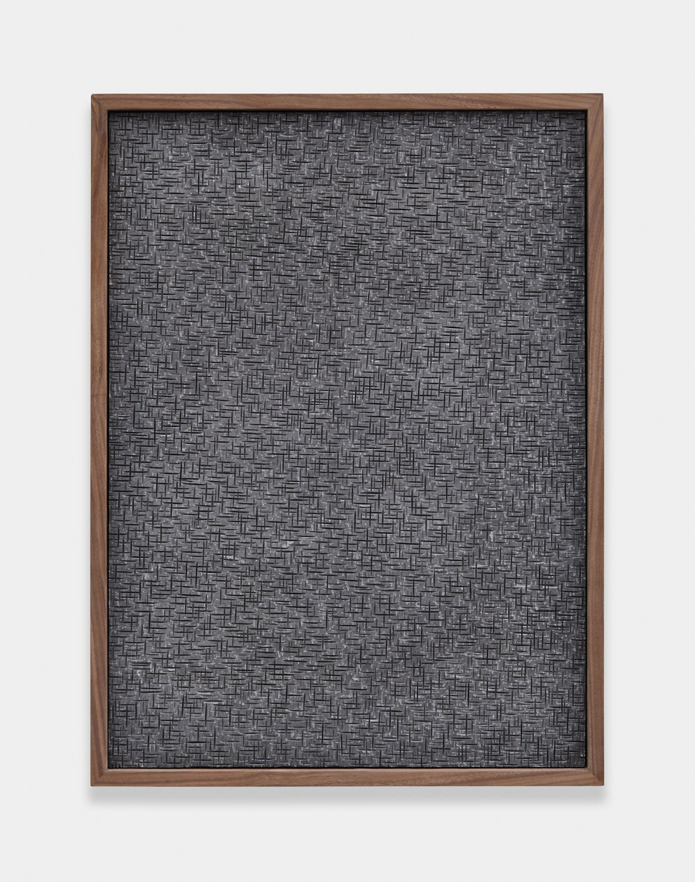 Anthony Pearson  Untitled (Etched Plaster)  2014 Pigmented Hydrocal in walnut frame 24 ½h x 18 ½w x 5 ¾d in AP359