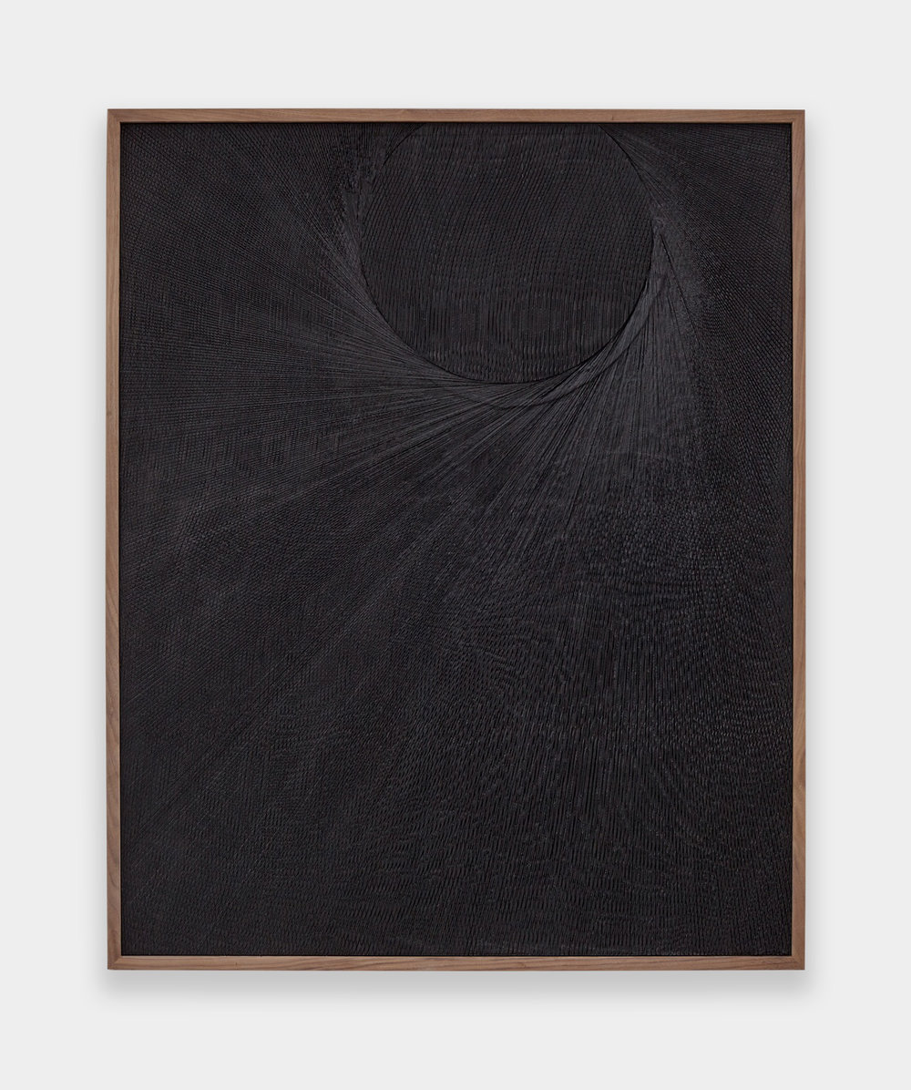Anthony Pearson  Untitled (Etched Plaster)  2015 Medium coated pigmented hydrocal in walnut frame  49h x 40w x 2 ½d in AP368