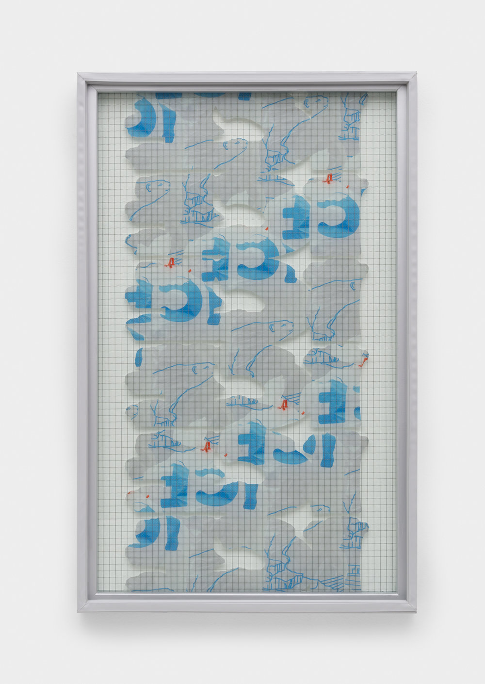 Chris Bradley  Freezer Door (Ice Bag Abstraction)  2015 Wire glass, printed clear film, wood, rubber gasket 43h x 26 ½w x 2d in CB147
