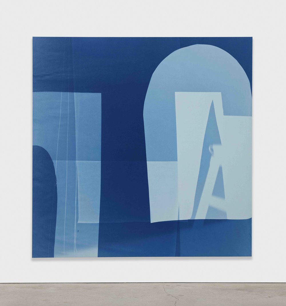 Erin Shirreff  Four strings  2015 Cyanotype photogram, muslin over canvas 96h x 96w in