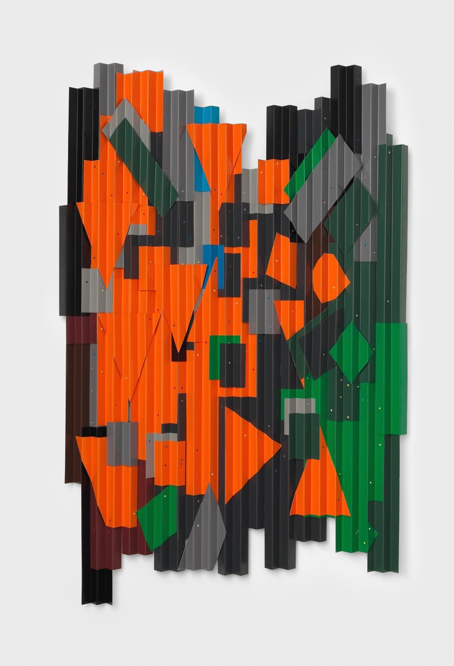 Jason Meadows  Orange Crumble  2013 Folded Aluminum, paint, and rivets 72h x 44w x 3d in