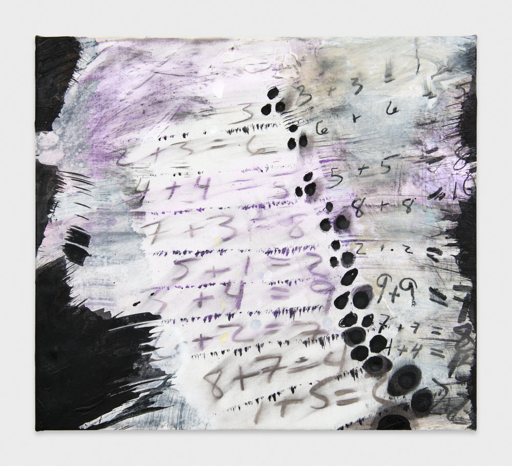 Suzanne McClelland  Because, (Solutions for Polke)   2013 Charcoal, gesso, pigment, and polymer on linen 16h x 18w in SM177