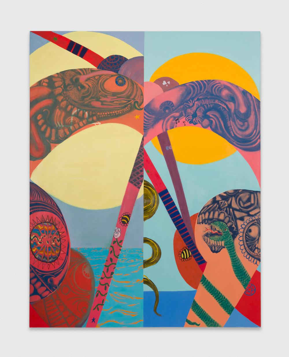 PeterFagundo  Rhymin and Stealin  2018 Oil on canvas 90h x 70w in PF005