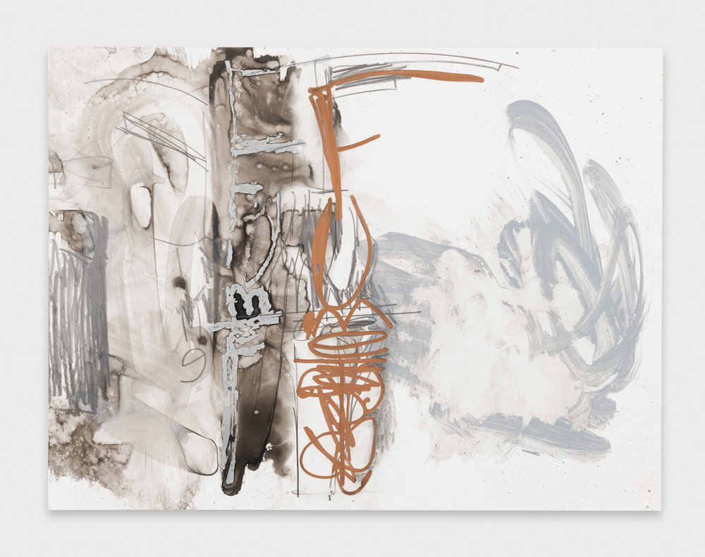 Suzanne McClelland  fume  2013 Ink, graphite, paint marker on YUPO 9h x 12w SM187