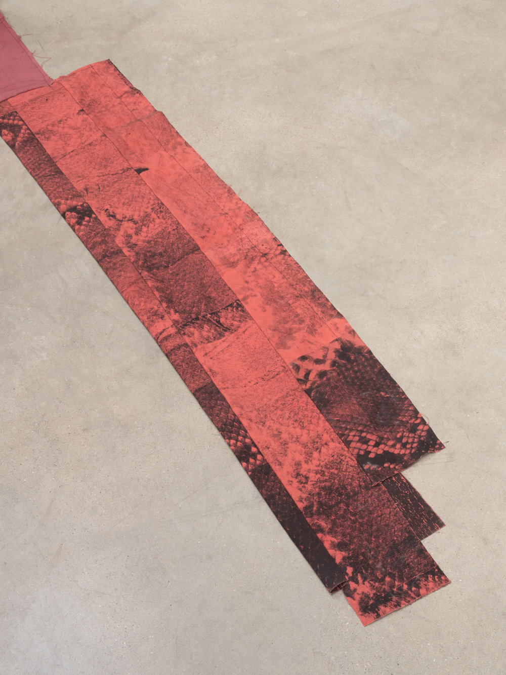 JoseribertoPerez  red tape  (Detail) 2018 Silkscreen acrylic and dye transfer on sewn and dyed canvas and muslin Dimensions variable JoseP004