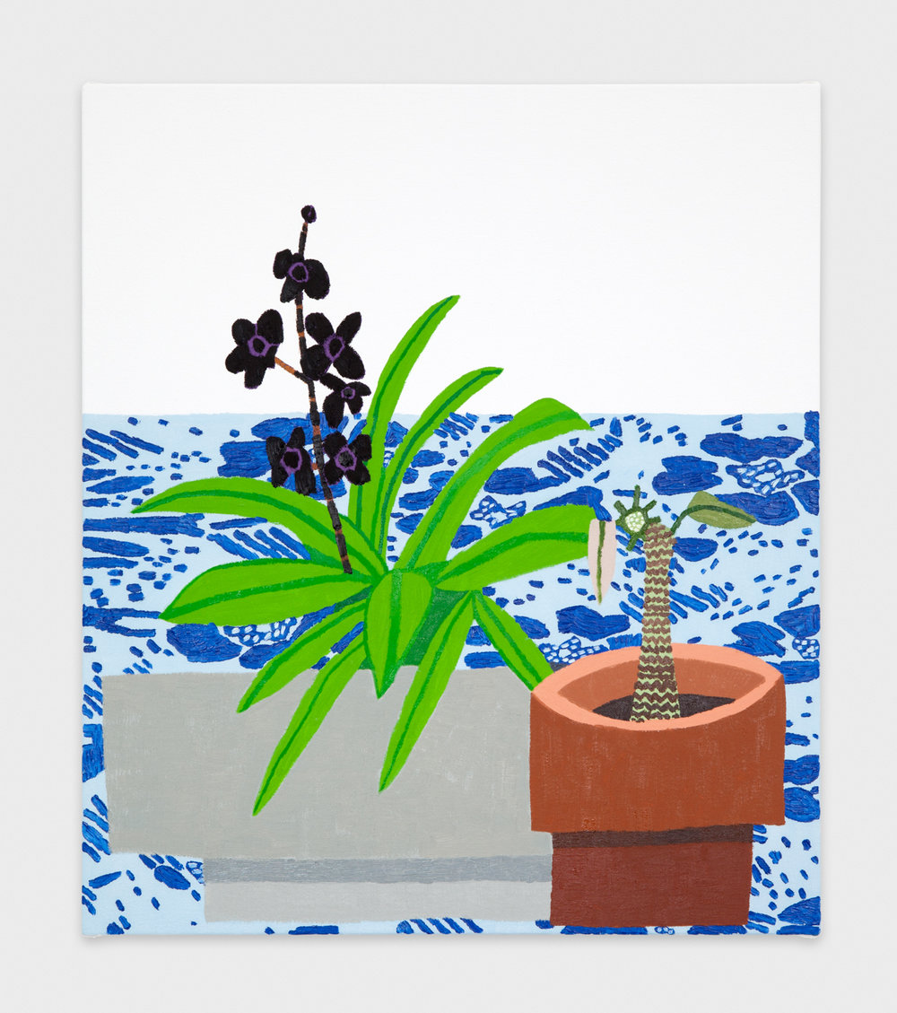 Jonas Wood  Small Black Flowers  2012 Oil and acrylic on canvas 23h x 20w in JW144