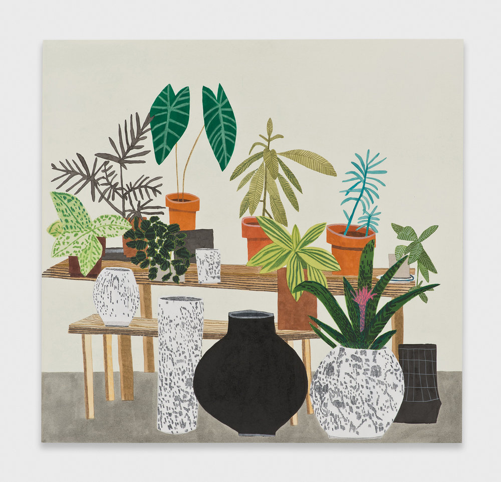 Jonas Wood  2 Tables 2  2013 Ink, gouache, and colored pencil on paper 32 ⅓h x 33 ¾w in