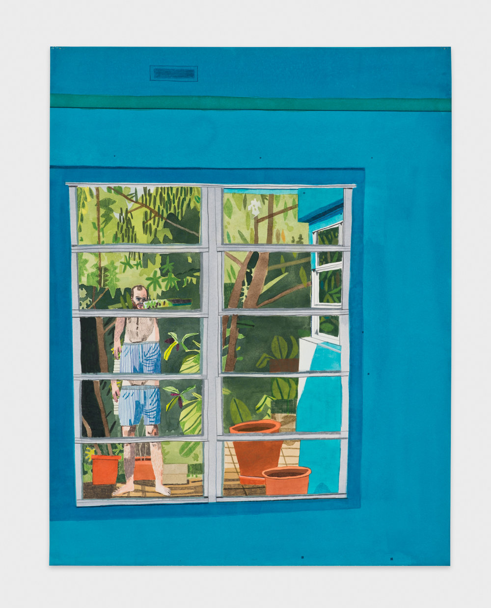 Jonas Wood  Calais Drive Three  2012 Gouache and colored pencil on paper 30 ⅞h x 23 ½w in JW142