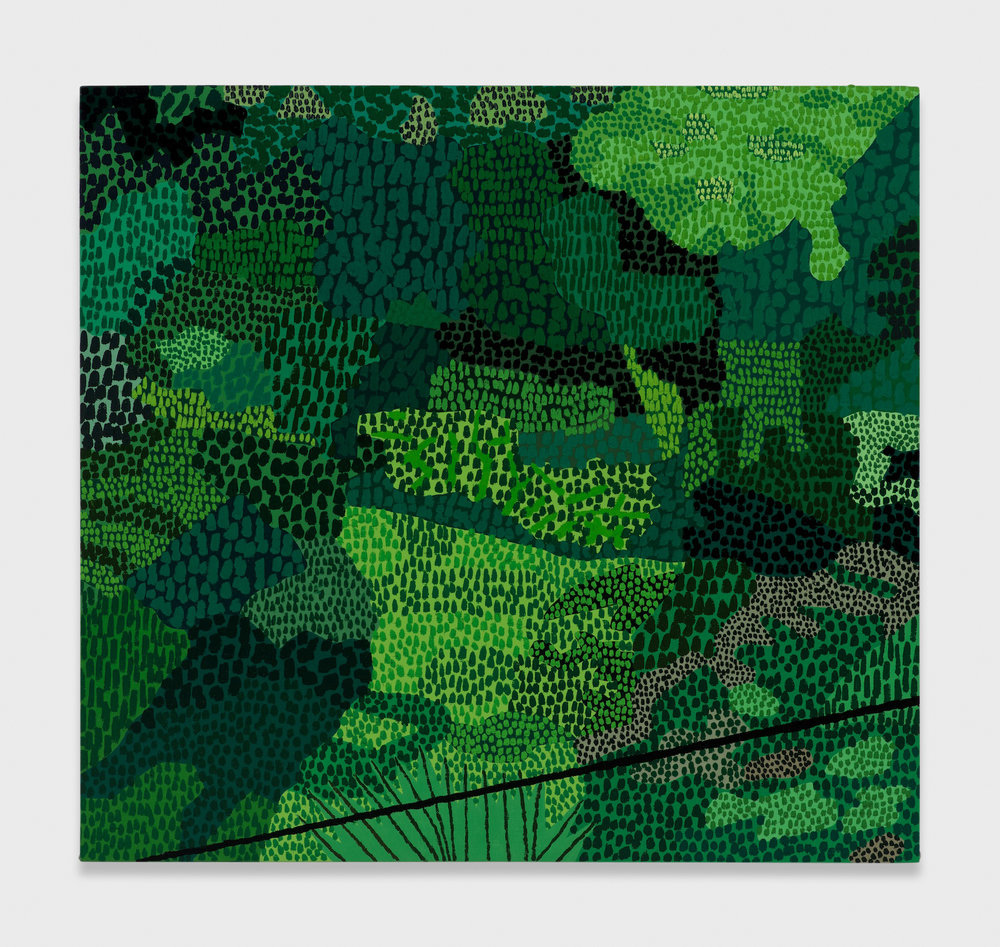 Jonas Wood  Small Green Pattern  2014 Oil and acrylic on linen 24h x 26w in