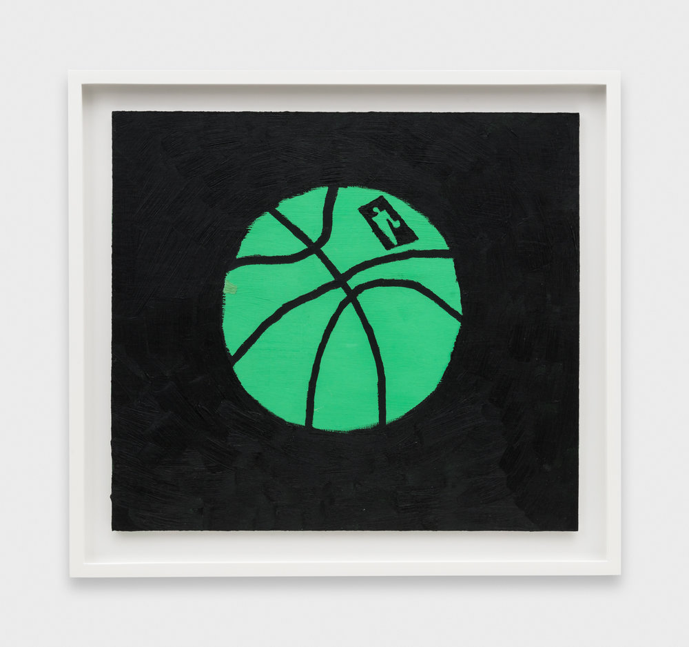 Jonas Wood  Green Ball  2014 Oil and acrylic on cardboard 14 11/16h x 16 5/16w in JW190