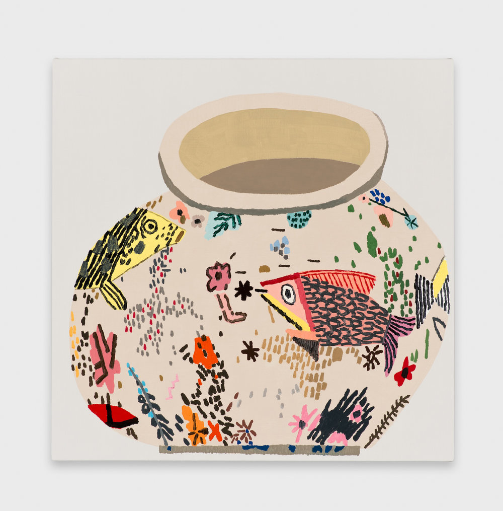 Jonas Wood  M.S.F. Fish Pot #2  2014 Oil and acrylic on linen 20h x 20w in JW183