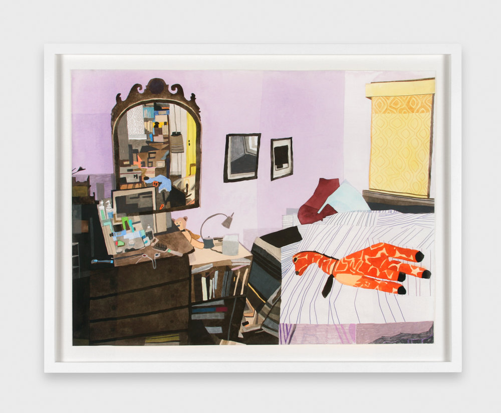 Jonas Wood  Gus's Room  2007 Gouache and colored pencil on paper 26 ½h x 34 ½w in JW014