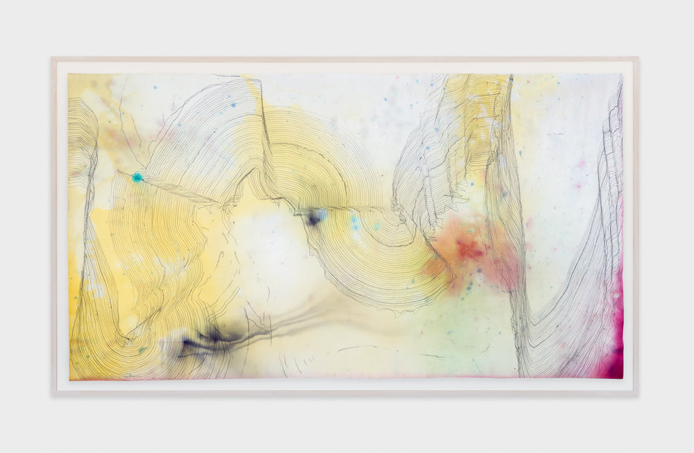 Jay Heikes  Music for Minor Planets (Levi-Strauss)  2015 Pencil and dye on paper 44h x 80w in JH041
