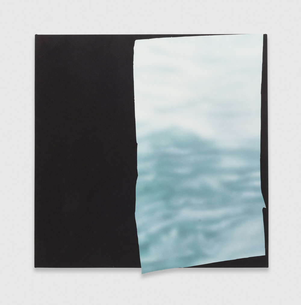 Kim Fisher  Magazine Painting (White Water)  2015 Oil and aluminum on dyed linen 38 1/2h x 38w in KF019