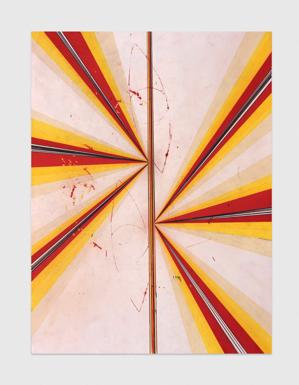 Mark Grotjahn  Untitled (Butterfly with Eyes, CR, SL, LY, and Cream #732)  2008 Color pencil and acrylic on paper 30 ¼h x 22 ½w MG732