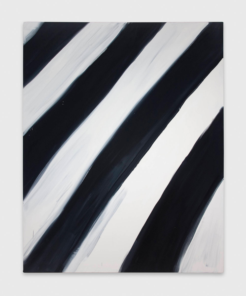 Ann Craven  Untitled (Stripe White black white 1/16/08)  2008 Oil on canvas 60h x 48w in AC047