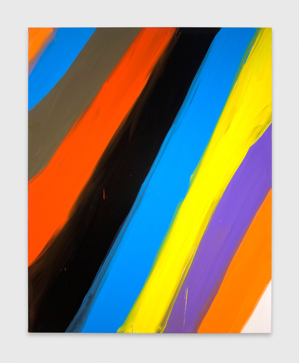Ann Craven  Untitled (Stripe Orange blue black 2-1-08)  2008 Oil on canvas 60h x 48w in AC045