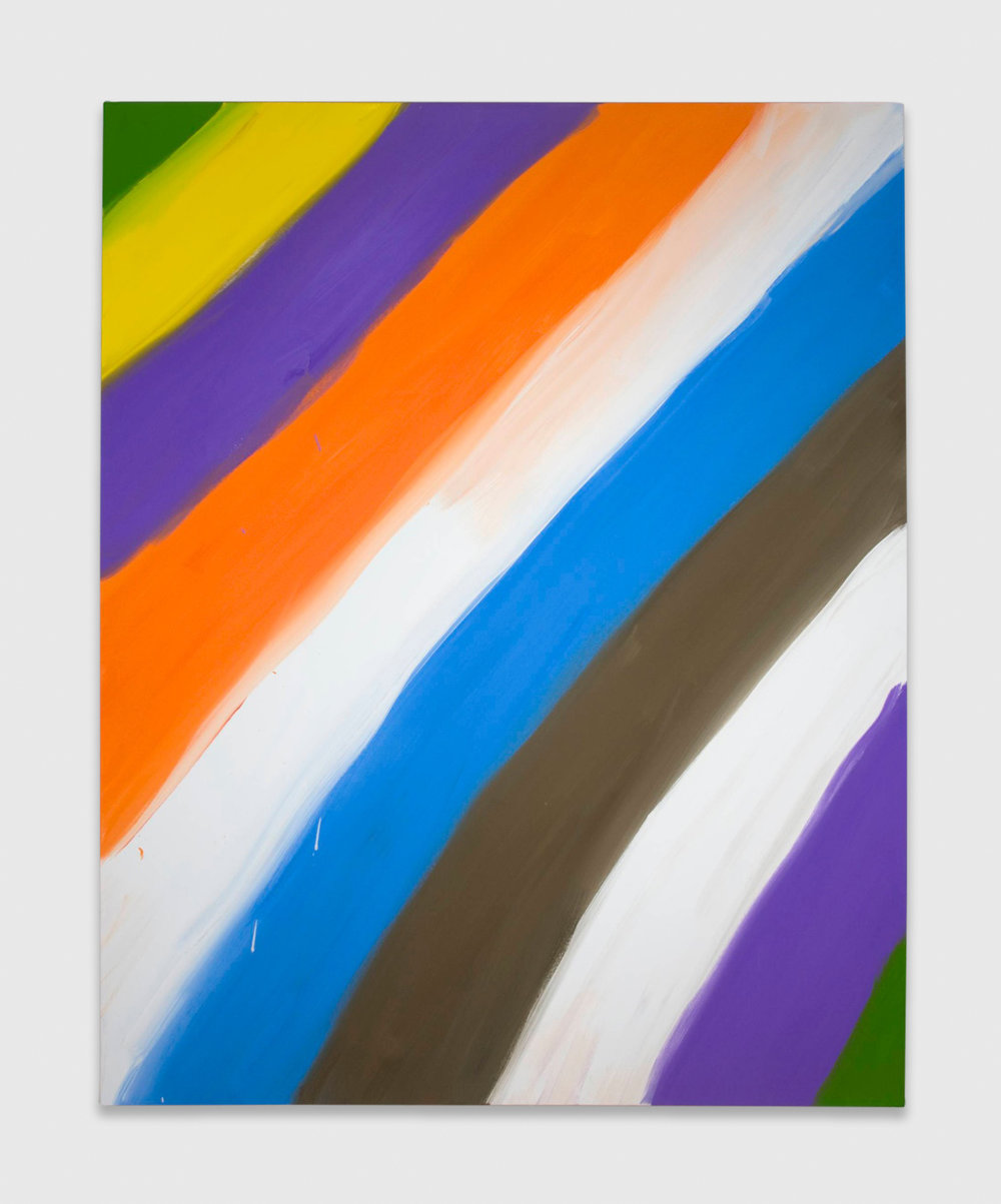 Ann Craven  Untitled (Stripe Green yellow purple 1-31-08)  2008 Oil on canvas 60h x 48w in AC040