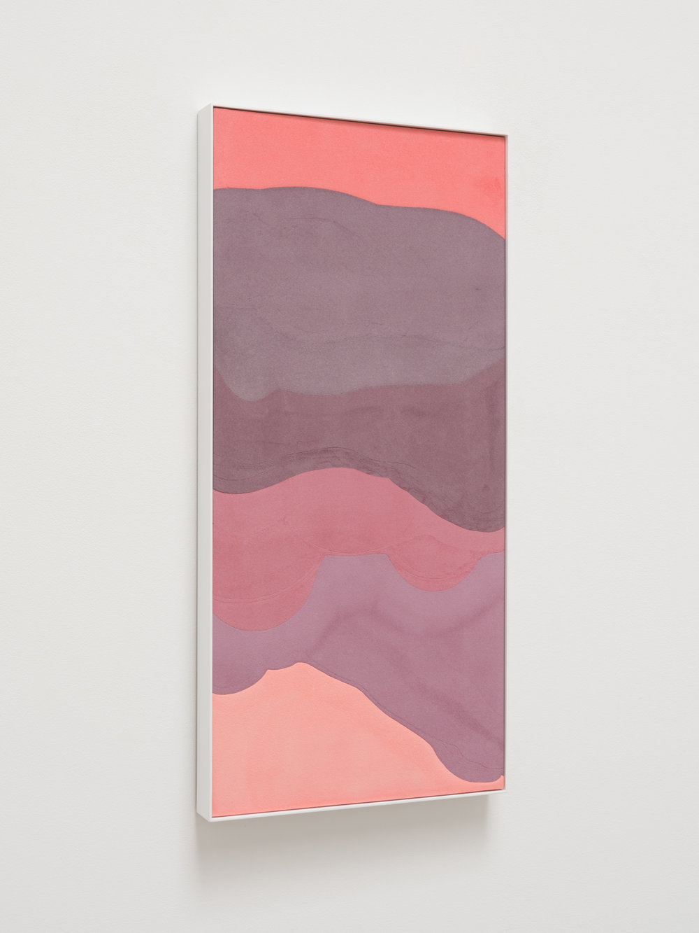 AnthonyPearson  Untitled (Embedment)  2018 Interlock-cotton-embedded pigmented hydrocal in enamel finished aluminum frame 35 3/4h x 17 1/4w x 2d in AP444