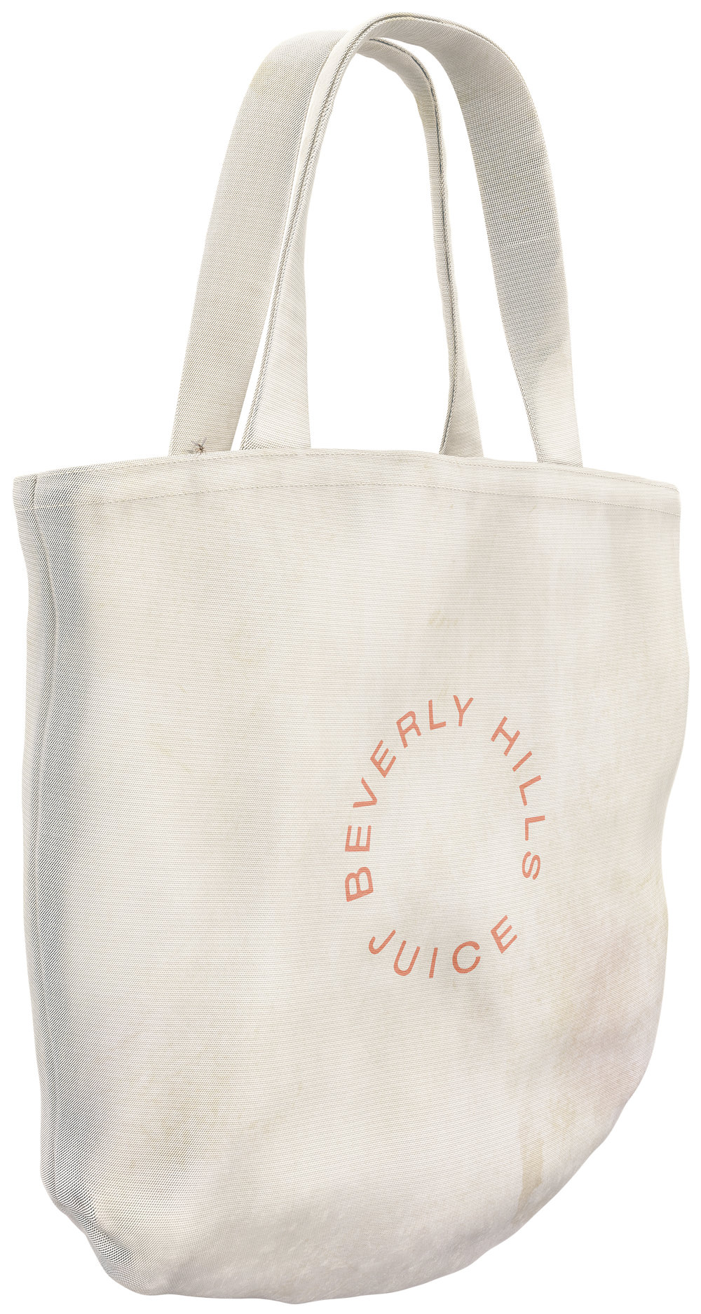 Asha Schechter  Beverly Hills Juice Club tote bag with mosquito modeled and rendered by Cem Batur Kemikkiran,  2018 Inkjet print on adhesive vinyl 1+1AP 70h x 37w in Asch008