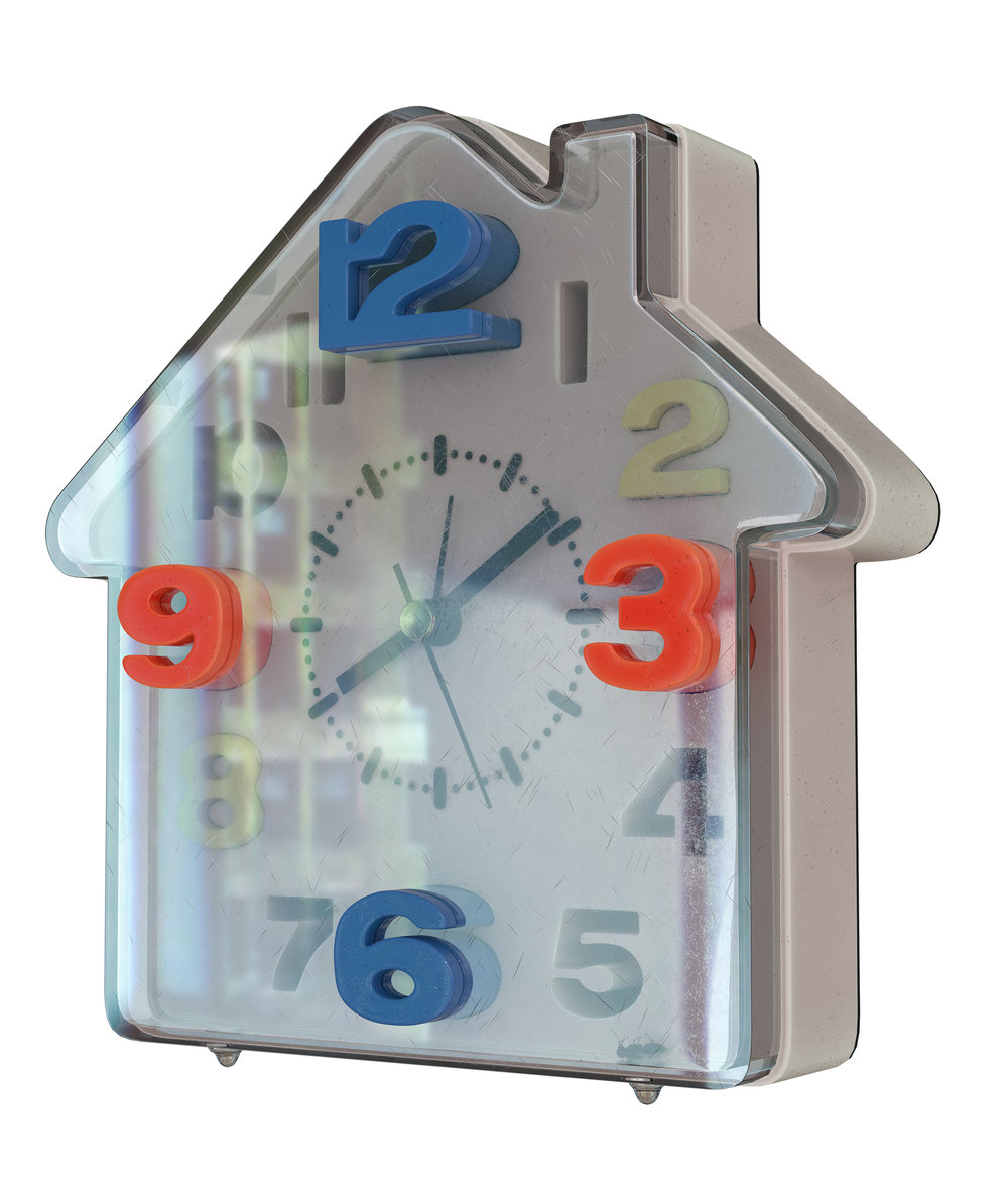 Asha Schechter  House Clock with fly modeled and rendered by Csaba Kiss,  2018 Inkjet print on adhesive vinyl 1+1AP 58h x 52w in ASch006