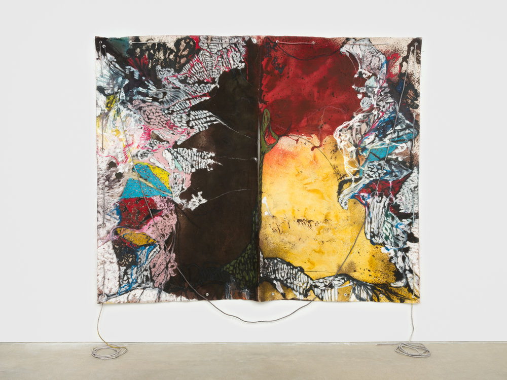 NaotakaHiro  Untitled (Scepter)  2018 Canvas, fabric dye, oil pastel, rope and grommets 84h x 108w in NaoH041