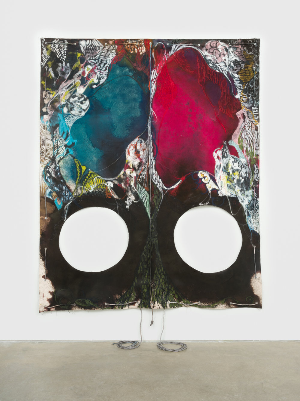 NaotakaHiro  Untitled (Welling)  2018 Canvas, fabric dye, oil pastel, rope and grommets 108h x 84w in NaoH039