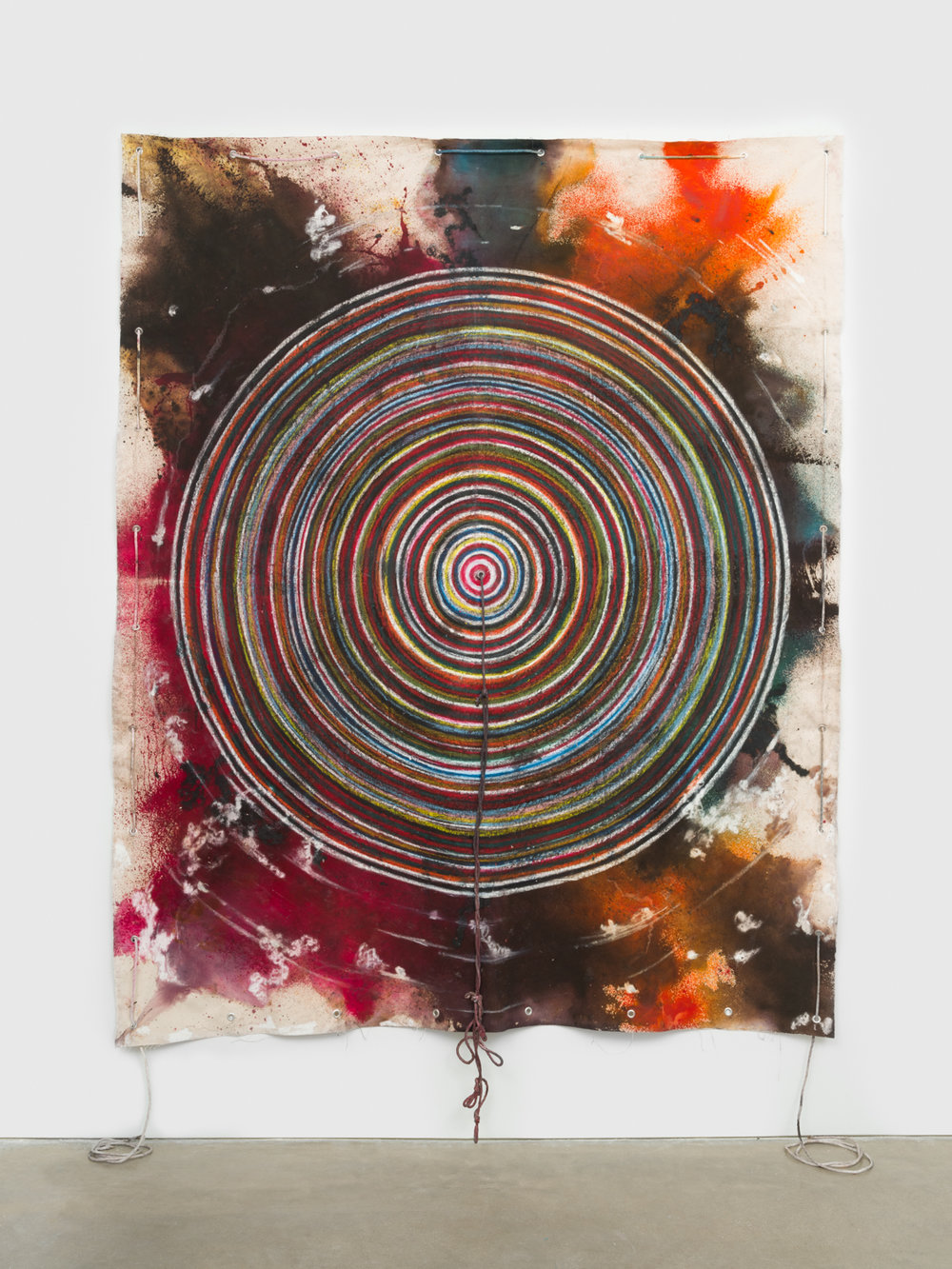 NaotakaHiro  Untitled (Crawl #7)  2018 Canvas, fabric dye, oil pastel, rope and grommets 108h x 84w in NaoH037