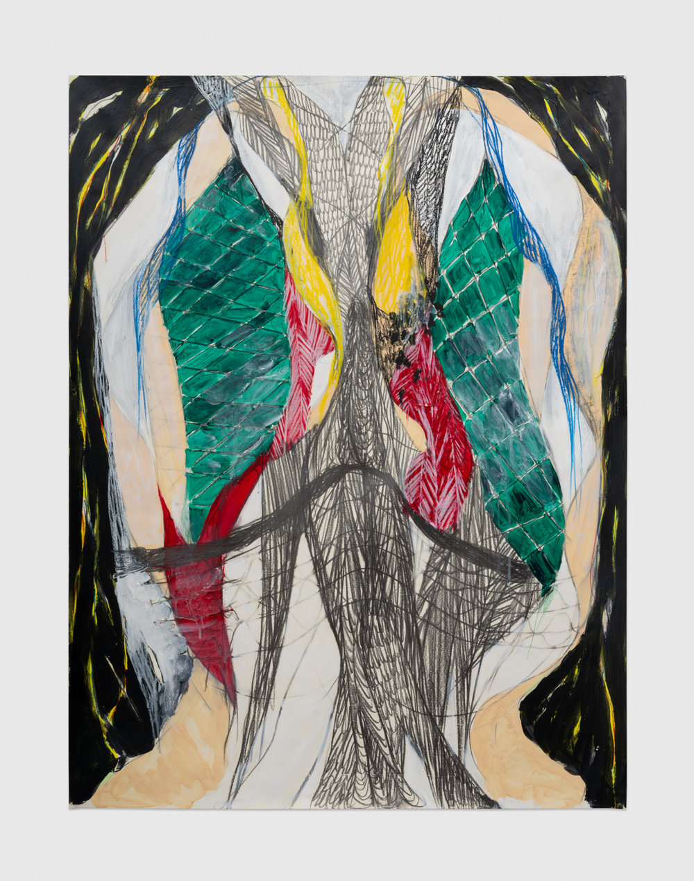 Naotaka Hiro Untitled (Fishnet), 2018 Acrylic, graphite and grease pencil on paper 42h x 32w in NaoH018