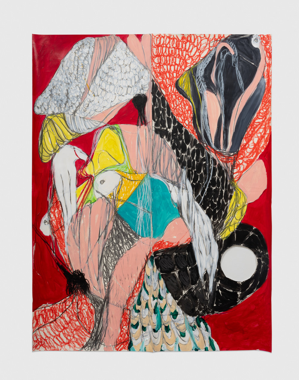 Naotaka Hiro Untitled (Perching, Red), 2018 Acrylic, graphite and grease pencil on paper 42h x 32w in NaoH019