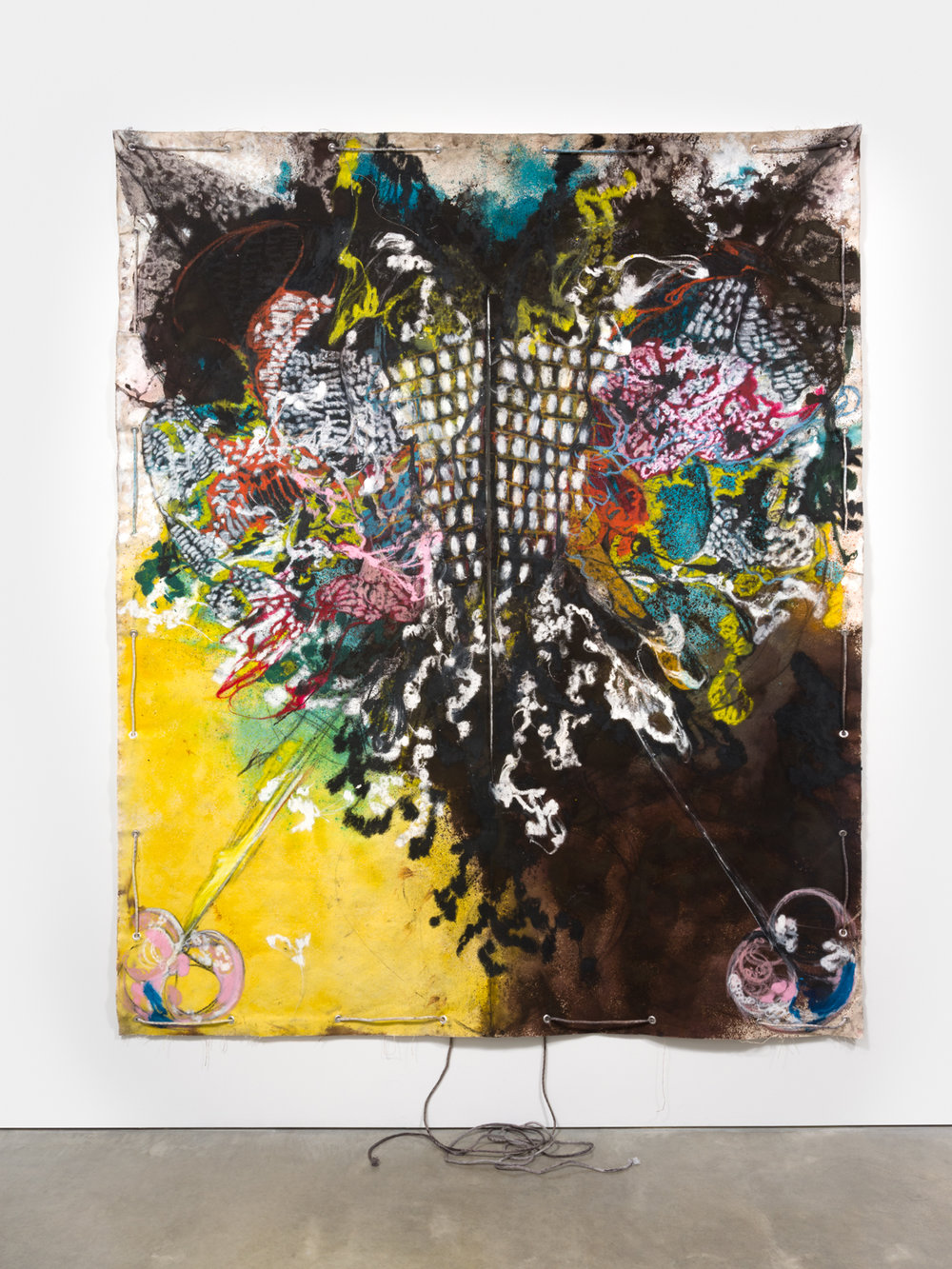 Naotaka Hiro Untitled (Morph), 2018 Canvas, fabric dye, oil pastel, rope and grommets 108h x 84w in NaoH034