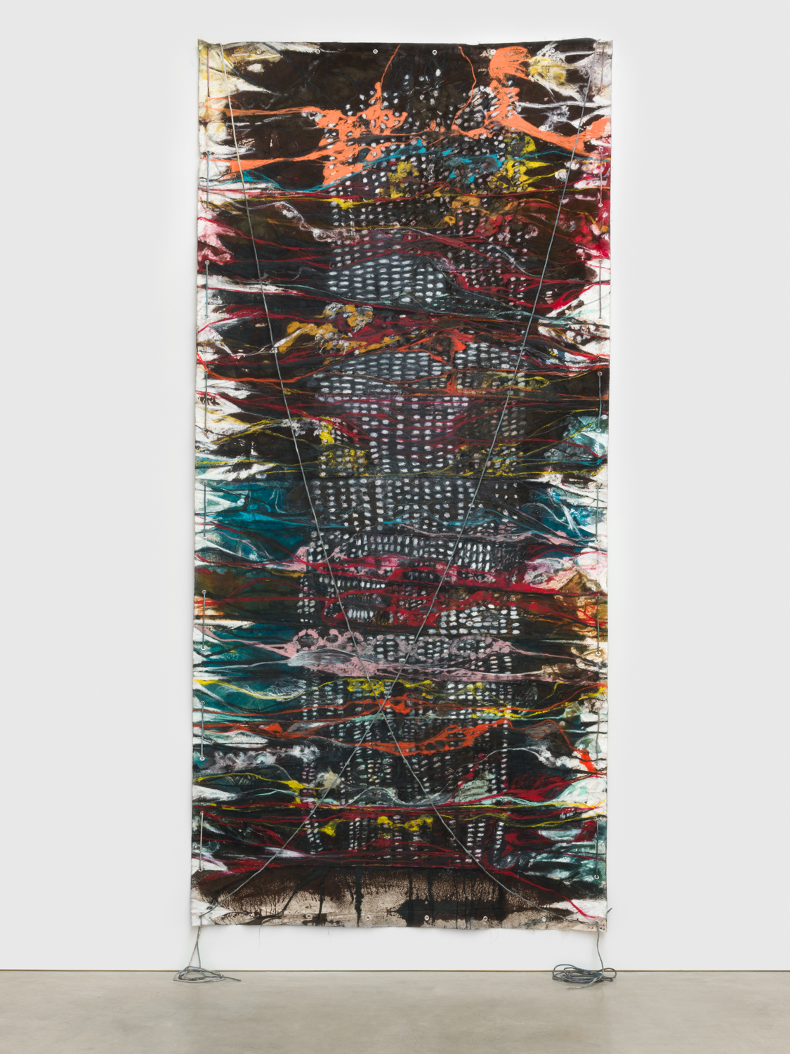 Naotaka Hiro Untitled (Breaking the Waves), 2018 Canvas, fabric dye, oil pastel, rope and grommets 192h x 84w in NaoH036