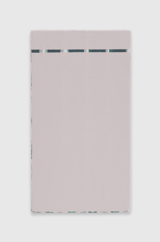 YuiYaegashi  wavy stripes  2018 Oil on canvas 8 3/4h x 4 3/4w in YY120