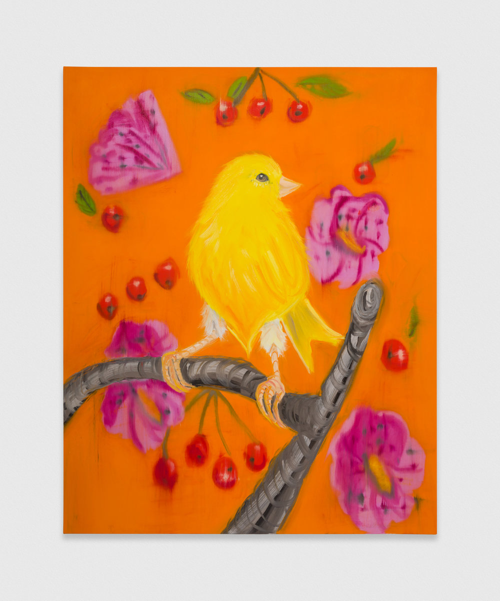 Ann Craven  Yellow Canary (Stepping Out on Orange with Cherries), 2019  2019 Oil on canvas 60h x 48w in AC198
