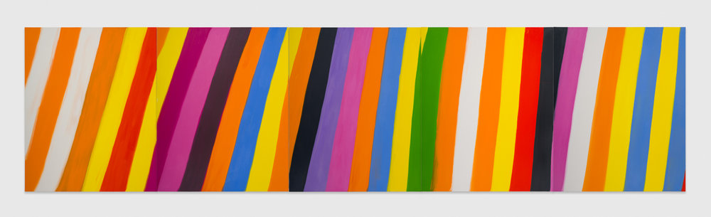 Ann Craven  Pentaptych (Stripe, for Chicago), 2019  2019 Oil on canvas 60h x 48w in, each canvas 60h x 240w in, overall dimensions AC203