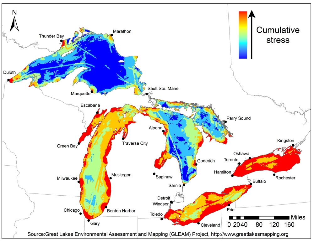 Lake Ontario is the most vulnerable of all the Great Lakes. Click to enlarge. (Source: www.greatlakesmapping.org).