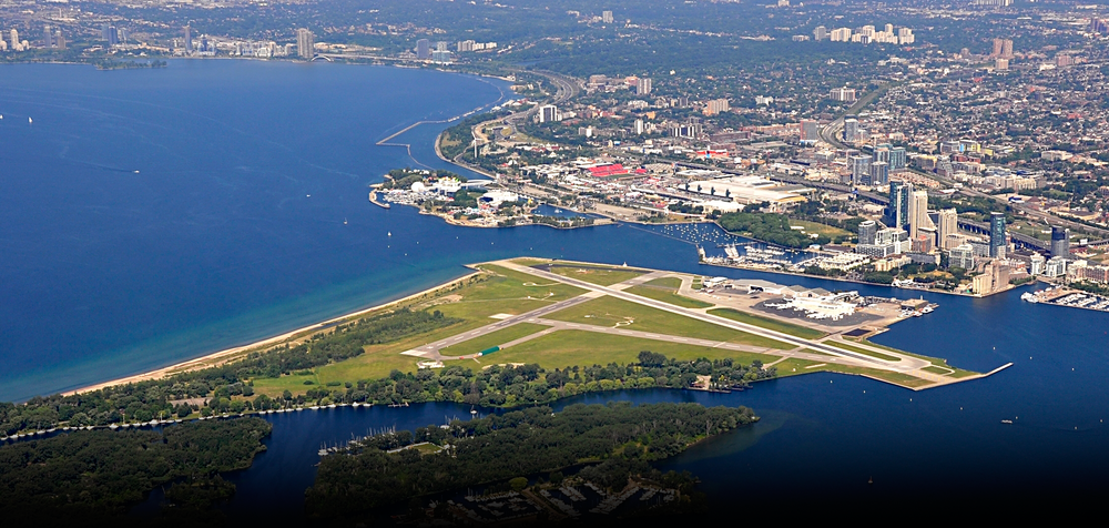 Toronto Islands, including Billy Bishop Airport and Hanlan Beach