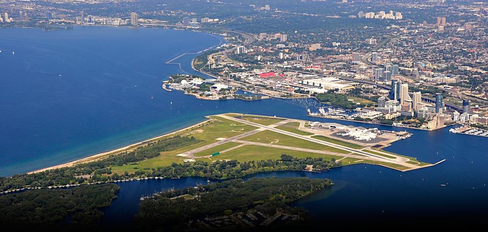 Toronto Islands, including Billy Bishop Airport and Hanlan Beach