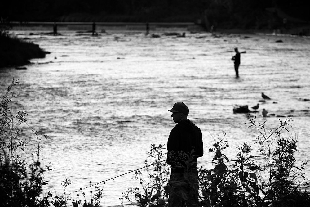 Fishermen trying their luck along the Humber River. (Photo via Lake Ontario Waterkeeper)