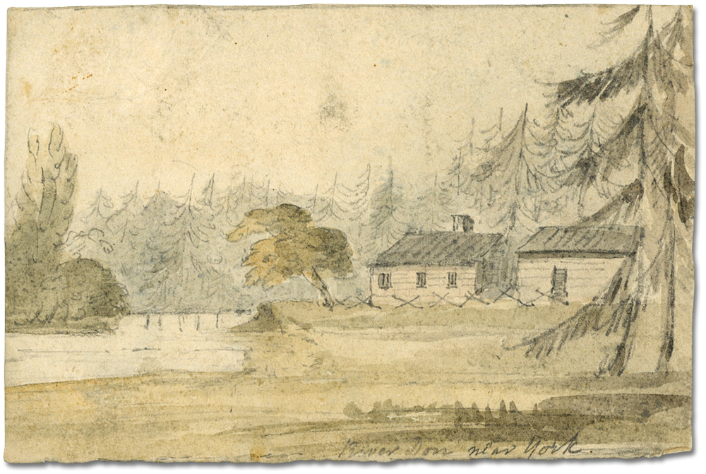 A sketch by Elizabeth Simcoe of the Don River near York and John Scadding's Cabin, Autumn, 1793. (From the  Archives of Ontario .)