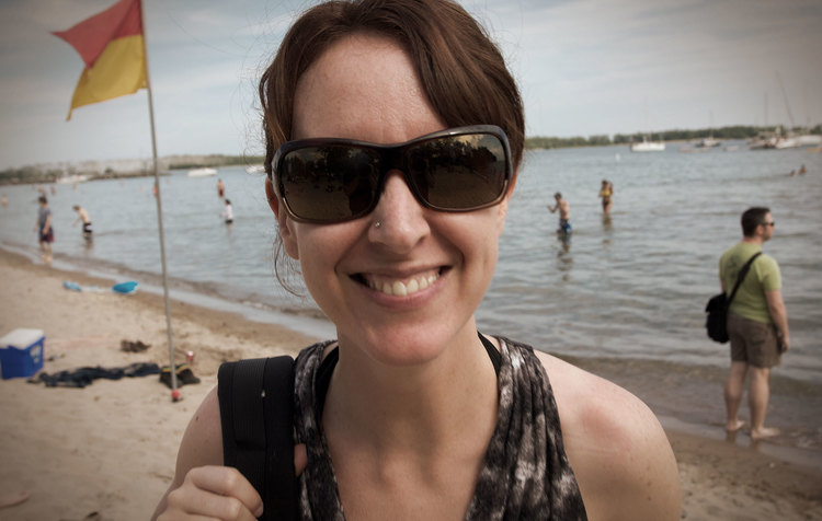 Krystyn enjoying one of the Toronto Island beaches. (Photo by Dylan Neild)