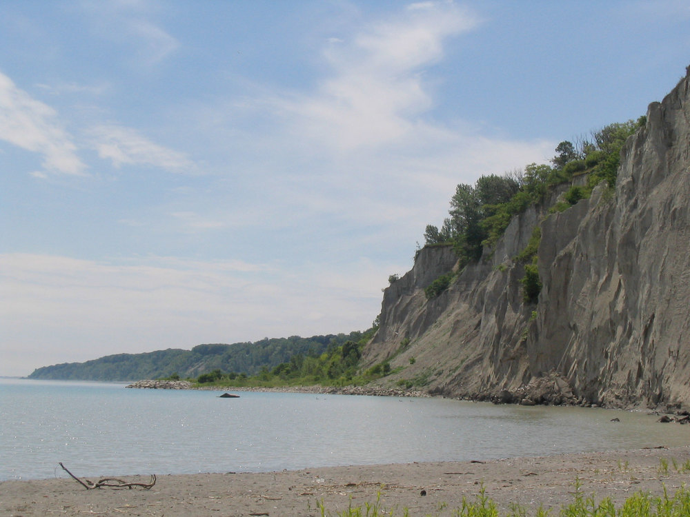 View of the bluffs on a summer day. (Photo via Lake Ontario Waterkeeper)