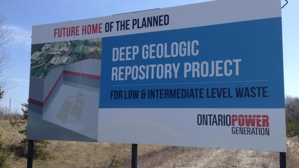 A sign is visible at the site proposed to bury nuclear waste near Lake Huron, Ont., Wednesday, May 6, 2015. (Scott Miller / CTV London)