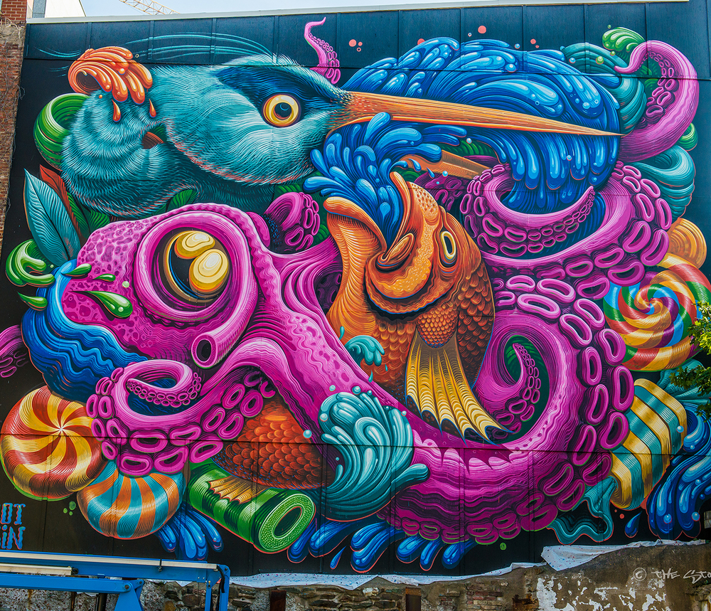 Detail of a 2015 Halifax mural by Montreal-based artist Jason Botkin. (Image via www.jasonbotkin.com)