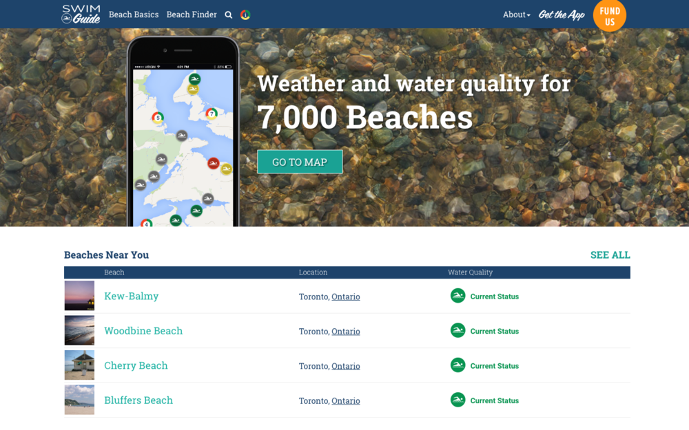 Find the beaches nearest to you right from Swim Guide's homepage!
