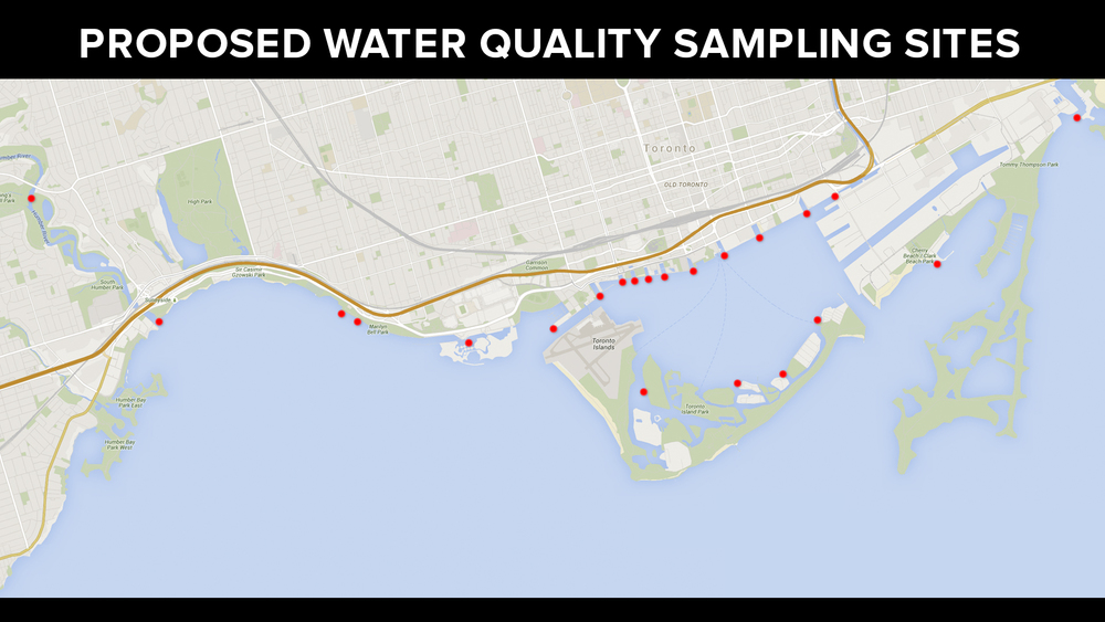 The areas Waterkeeper aims to collect water quality samples from with the Angus Bruce. (Image via Lake Ontario Waterkeeper)