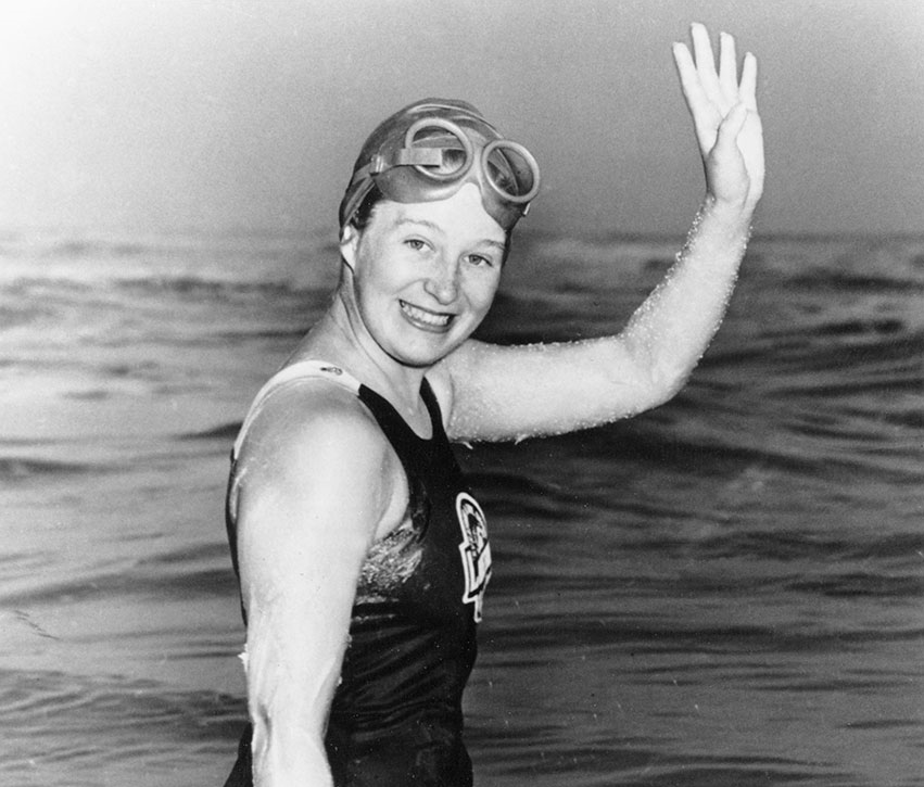 Lake Ontario's own swimming sensation, Marilyn Bell. (Image sourced from CNE Heritage)