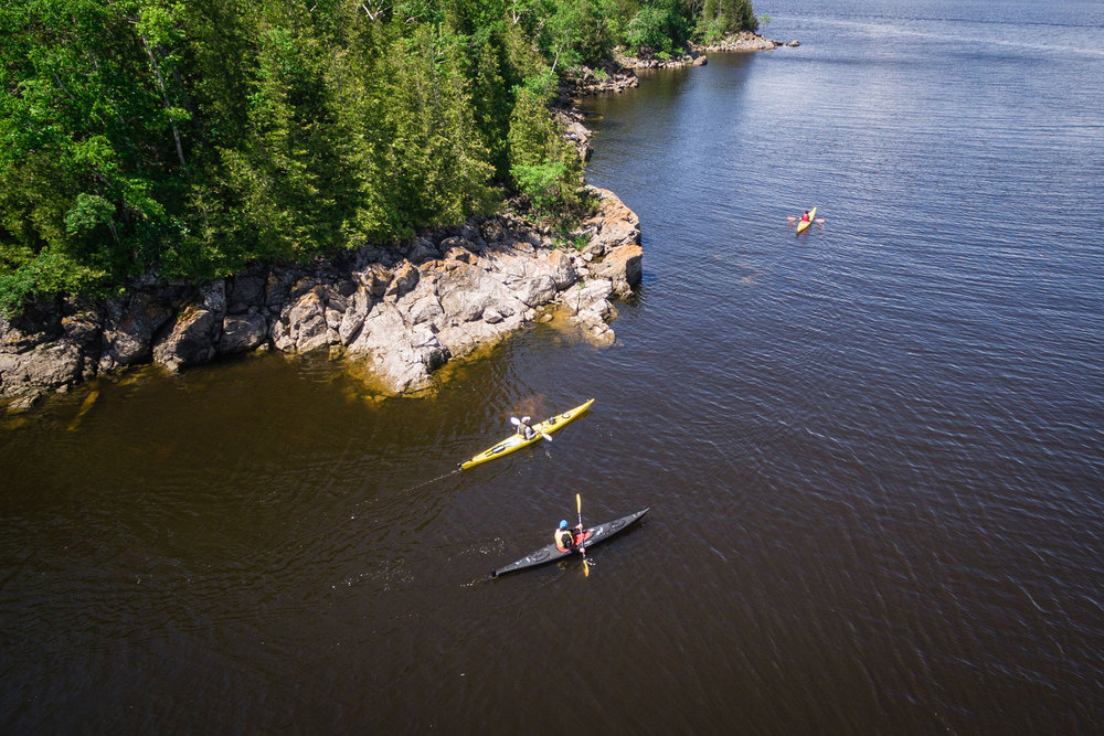 Waterkeeper Mark Mattson and writer, Joseph Boyden paddling on the Kennebecasis River. (Photo by Dylan Neild)